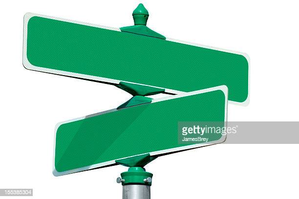 Blank Green Street Intersection Sign Isolated on White