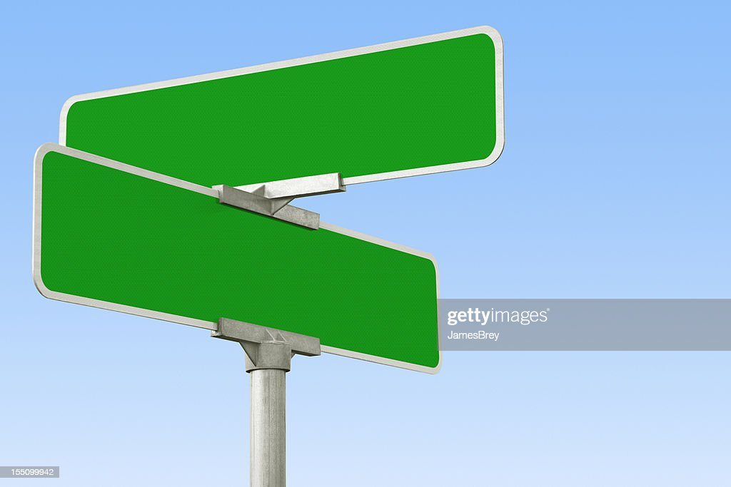 Blank Green Street Intersection Sign : Stock Photo