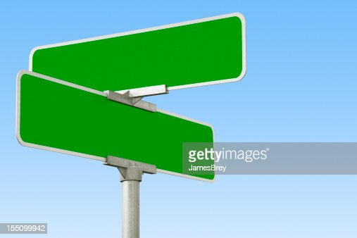 blank green street intersection sign stock photo getty