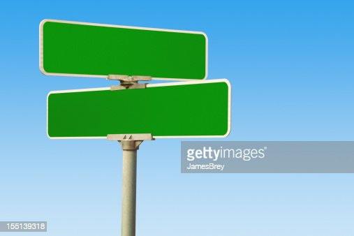 blank green street intersection signs stock photo getty