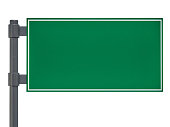 Blank green traffic road sign on white. 3D rendering