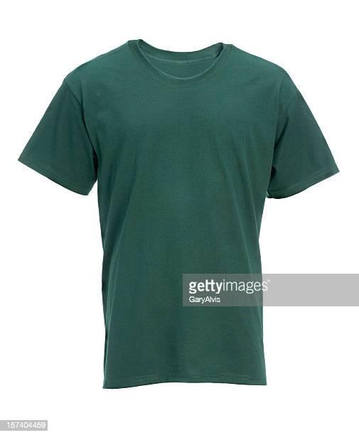 空白の緑の t シャツのフロント白で分離、クリッピングパス