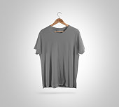 Blank grey t-shirt front side view on hanger, design mockup, clipping path. Gray clear plain cotton tshirt mock up template. Apparel store logo branding display. Crew shirt surface hang on wood hanger