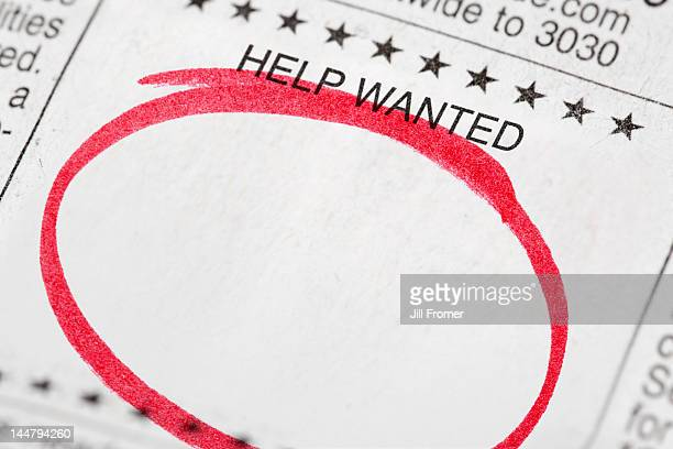 Blank help wanted ad with red marker circle