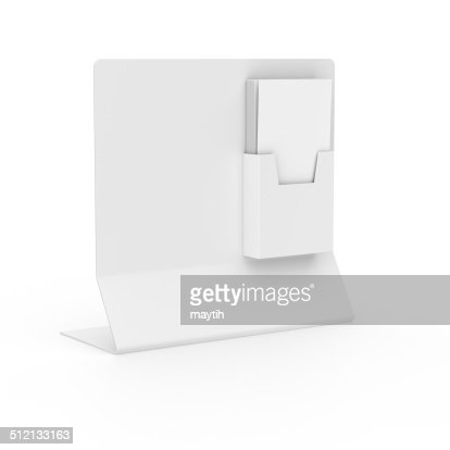 Blank holder with leaflets or dl size flyers : Stock Photo