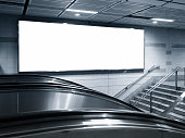 Blank Horizontal big Banner Billboard in subway station with escalator