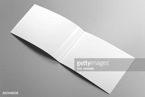 Blank horizontal brochure mockup on light grey background. : Stock Photo