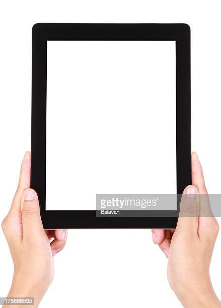 Blank image of two hands holding a large tablet device