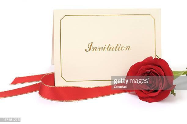 空白の招待カード、ローズ