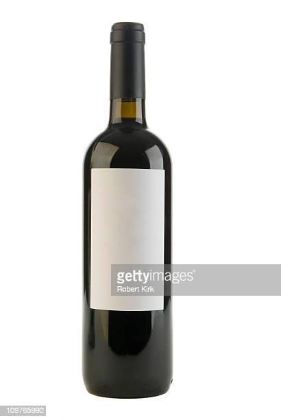 Blank label on Red Wine Bottle