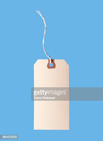 Blank label with string on blue background  : Stock Photo