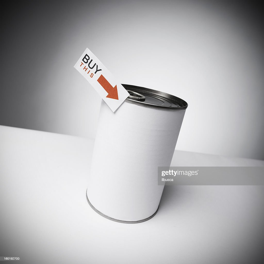 Blank labeled products on neutral white to gray gradient background : Stock Photo