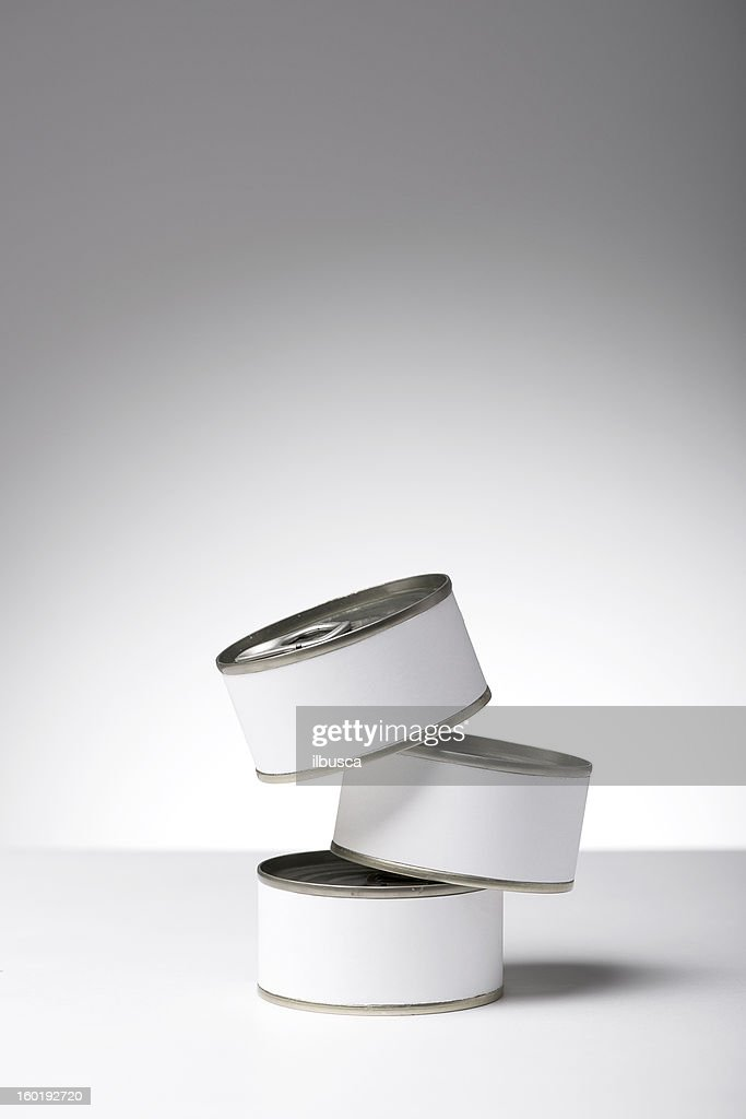 Blank labeled products on neutral white to gray gradient background