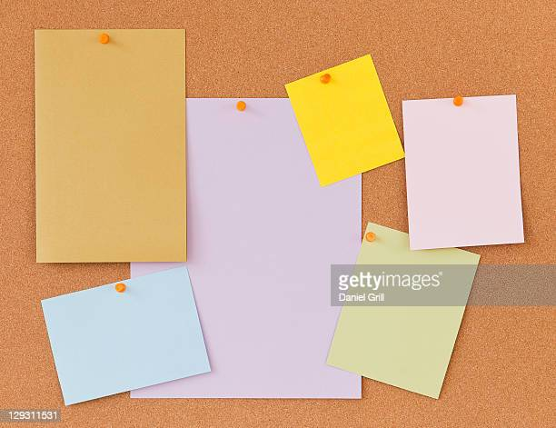 Blank labels on cork board
