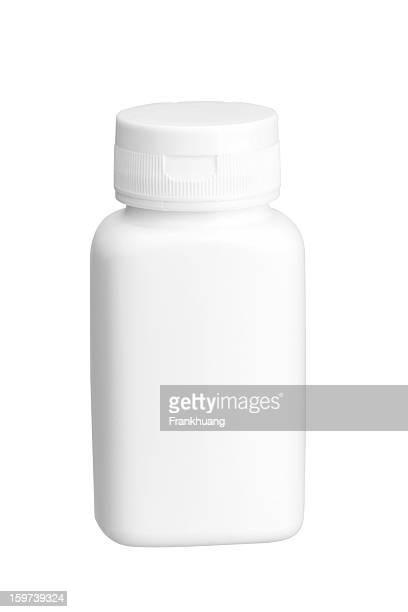 Blanco medicamento botella