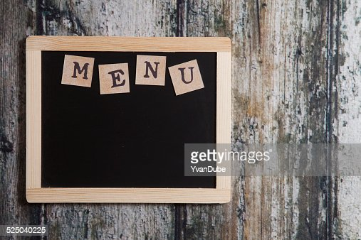 Blank Menu Board On Wood Stock Photo | Getty Images