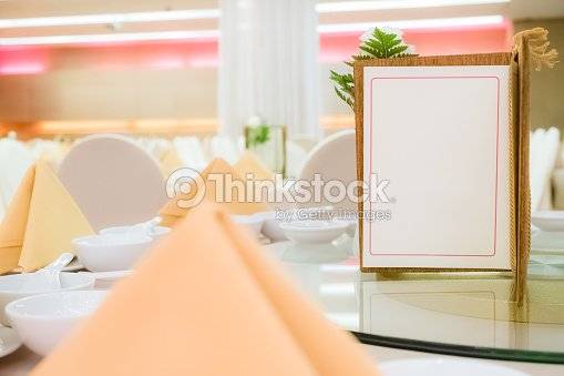 blank menu card on chinese style table stock photo