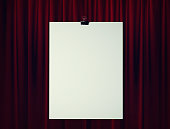 Blank Mock Up Poster in front of Red Stage Theater Curtain. Framing For Your Text. 3d rendering.