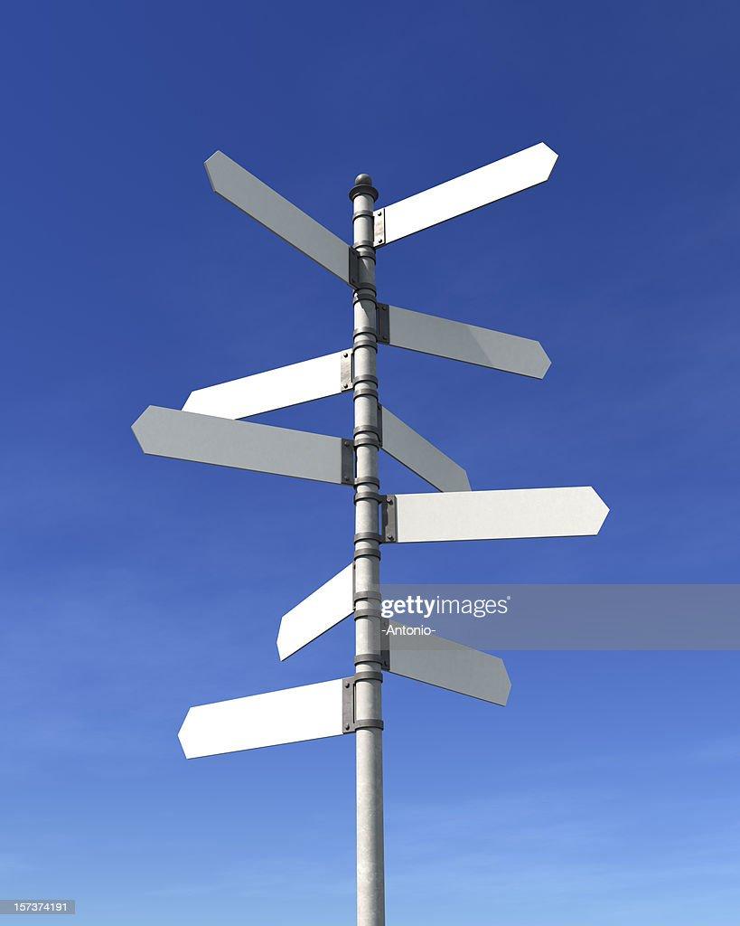 Blank multidirectional sign post