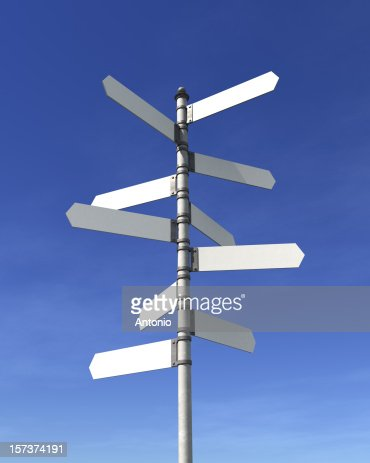 Blank multidirectional sign post