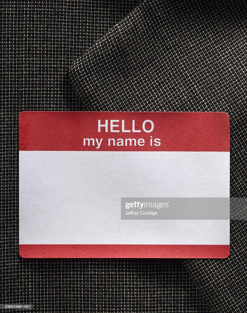 Blank name badge on dress jacket