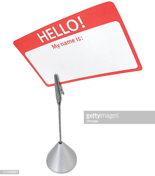 Blank Name Tag on a Stand