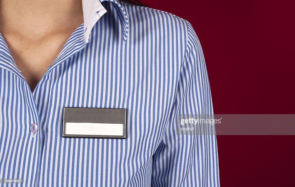 Blank Name Tag on Shirt