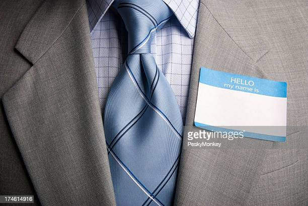 Blank Name Tag on Suit of Businessman