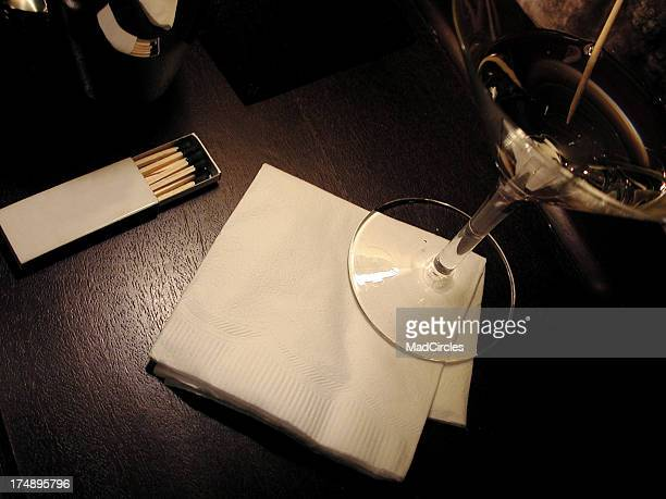 Blank napkin and martini.