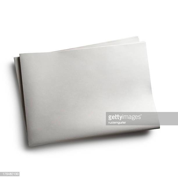 Blank newspaper with no words on white background