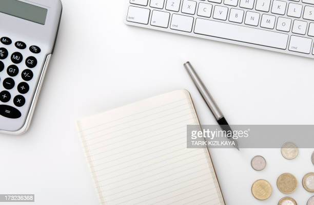 Blank notebook on business desktop