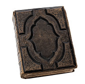 Blank old, antique book isolated on white background with copy space