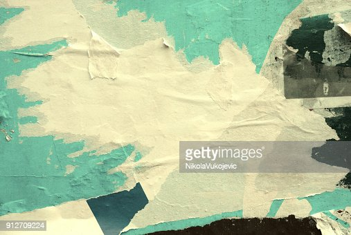 Blank old ripped torn crumpled posters grunge textures backgrounds : Stock Photo