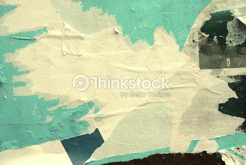 En blanco viejo rasgado rasgado arrugado carteles grunge texturas fondos : Foto de stock