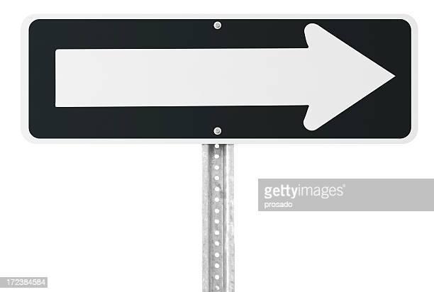 Leere einfache Fahrt Schild mit clipping path