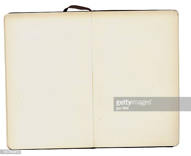 A blank, open notebook with a white border background