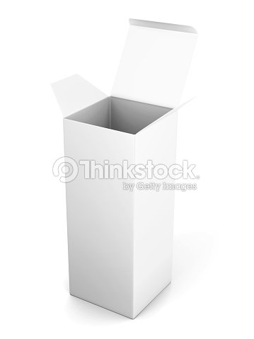Blank Open Vertical Cardboard Box Template Standing On White Bac Stock Photo