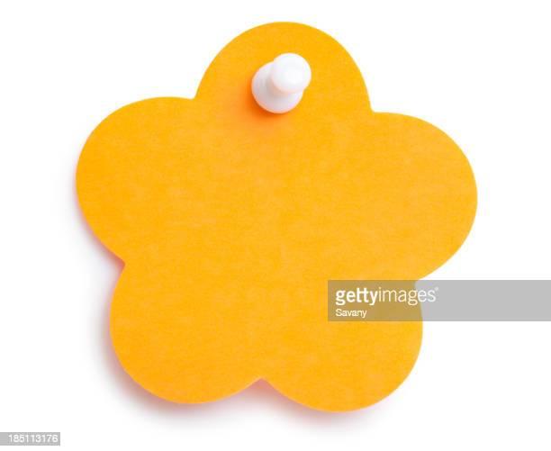 Blank Orange flower-shape sticky note with tack