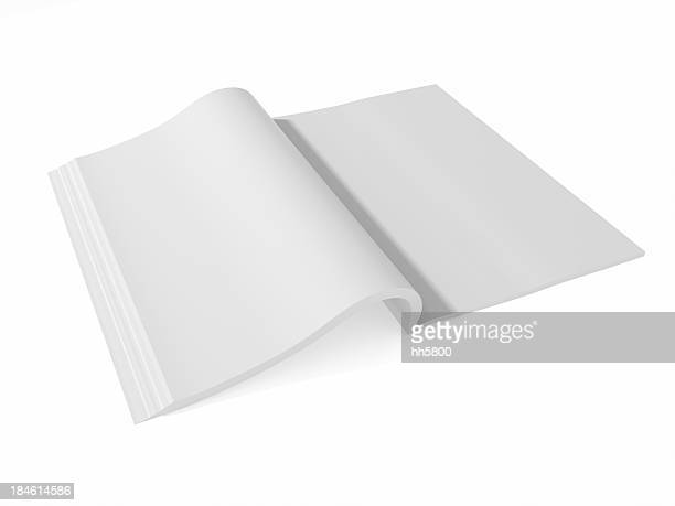 blank page of magazine book paper isolated on white background