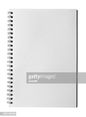 Blank page of notebook on white background