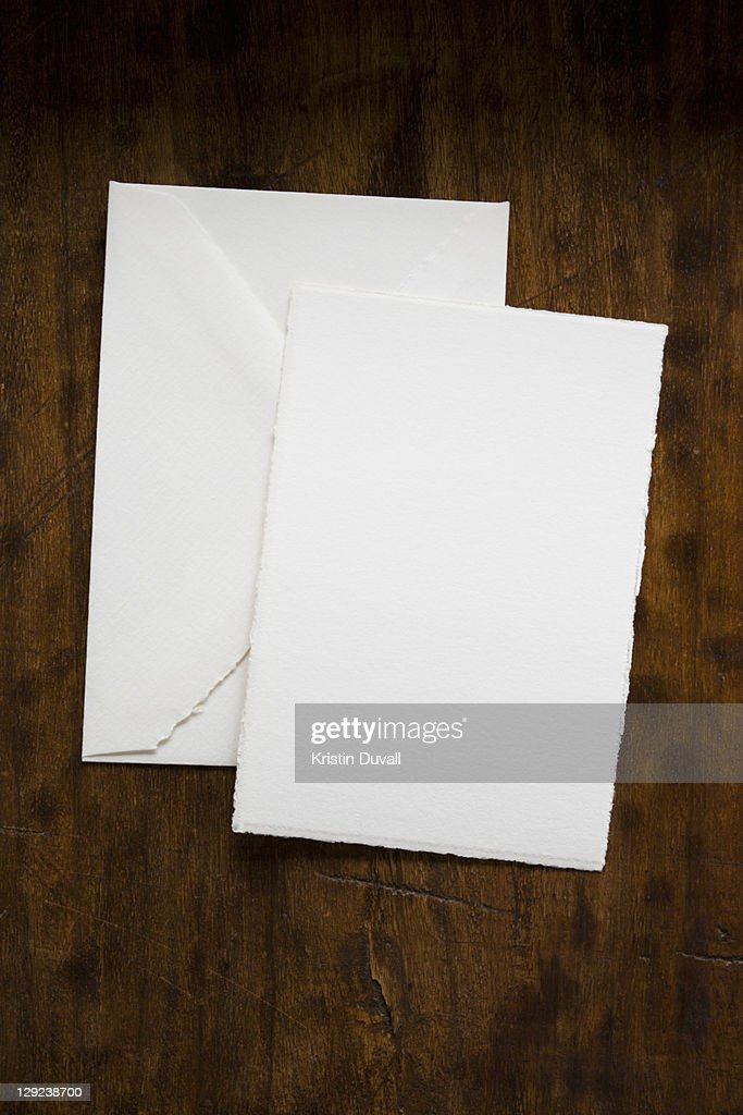 Blank paper and envelope with copy space : Stock Photo