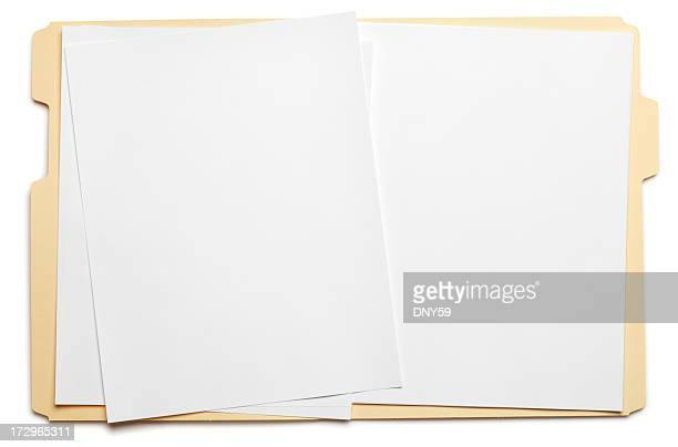 Blank paper in an open file folder on white background