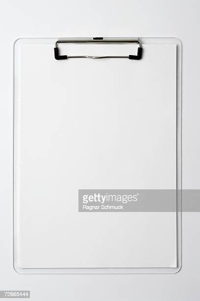 Blank paper on a clipboard