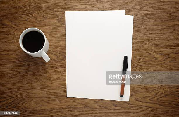 Blank paper on business desk