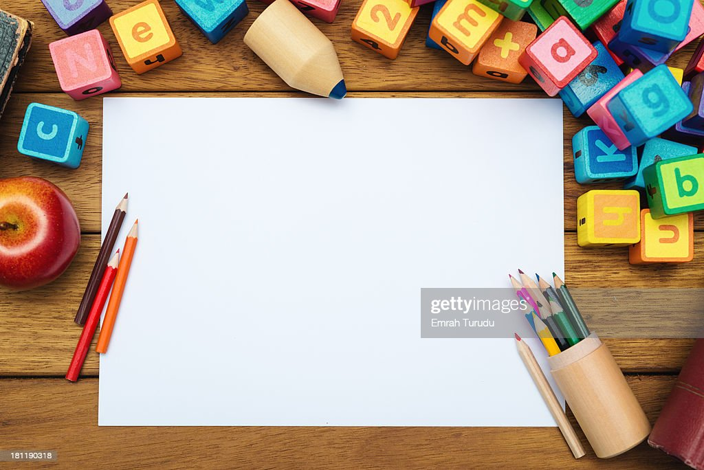 Blank paper on the school desk