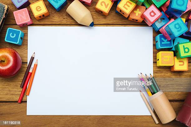 Blank paper on the school desk