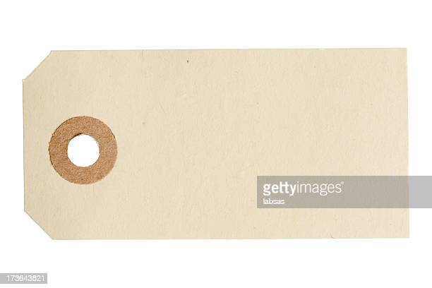 Blank paper tag isolated on white background.