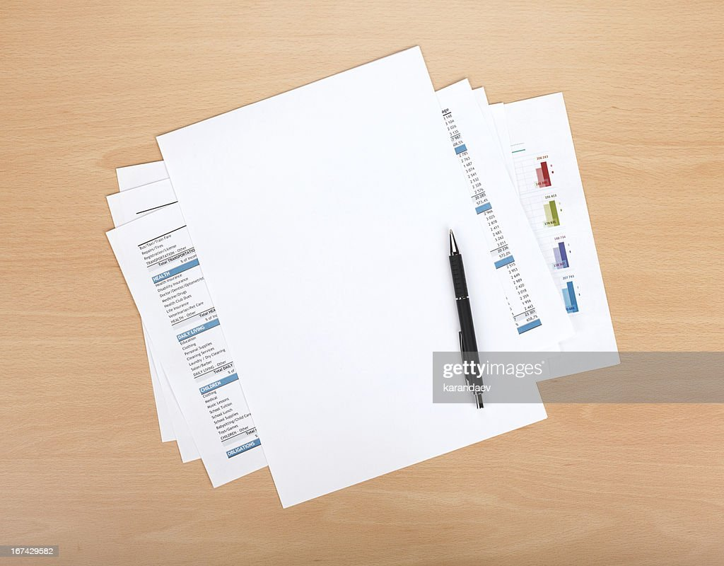 Blank paper with pen : Stock Photo