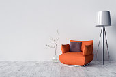 Parquet on the floor, chair, interior lamp and blank wall in background. 3D illustration