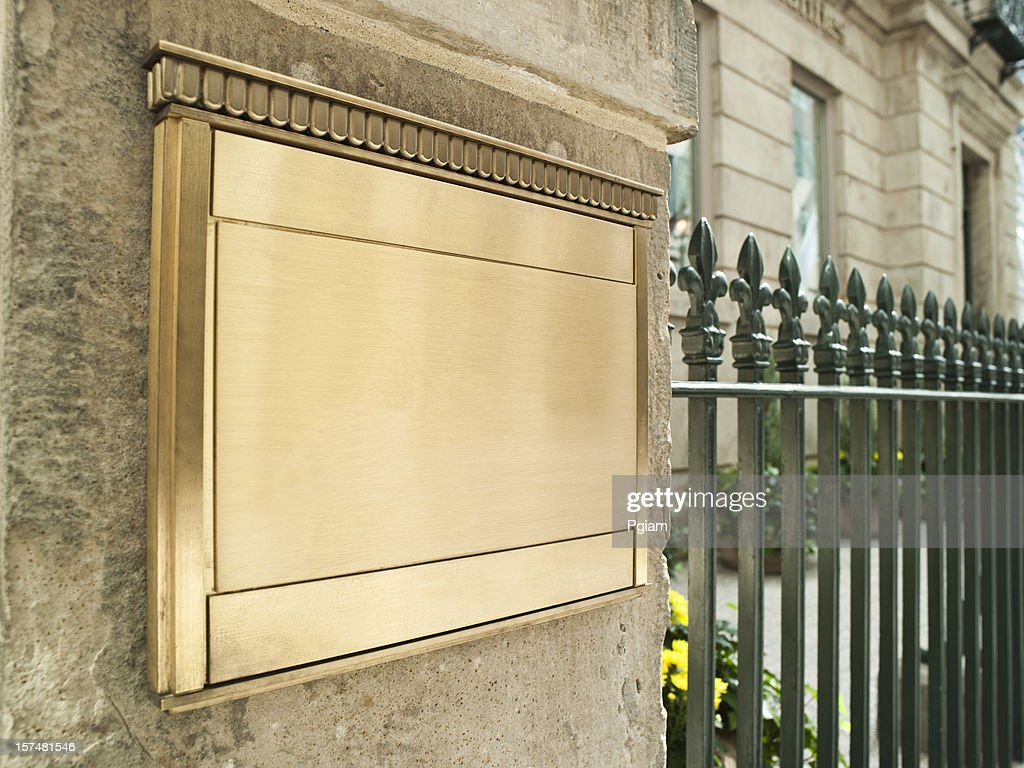 Blank plaque on an important building